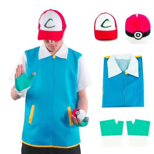Anime Pokemon Ash Outfit Jacket Pokeball Pikachu Trainer Ketchum Cosplay Costume