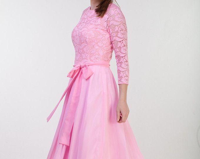 Langen rosa Spitze Kleid Rosa Brautjungfer Kleid lange Brautjungfer Kleid Langarm Long Prom Kleid rosa Kleid Frauen lange Spitzen Prom Kleid