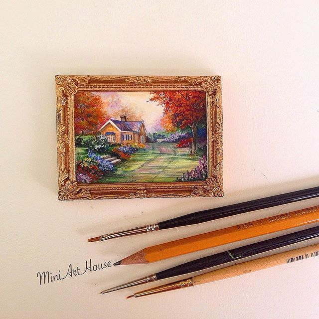 На самом деле в МиниАртХаус нас трое : эти замечательные картины пишет моя дочь Ксения, она художник #miniature #painting #artist #colors #sky #house #autumn #nature #watercolor #watercolour #handpainted #trees #landscape #painting #trees #frame #house #aquarelle #handmade #miniarthouse #миниатюра #картина #живопись #пейзаж #акварель  #небо #осень #дом #поле #художник #ручнаяработа #миниартхаус