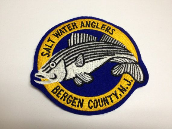 Vintage Bergen County Saltwater Anglers Bergen County New Jersey Patch NJ Surfishing Club