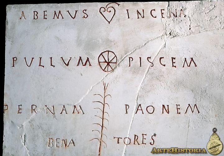 """Menú en una taberna romana. El texto dice """"Tenemos pollo, pescado, jamón y gallina"""""""