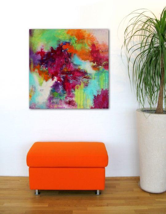 Akryl maleri i sprudlende farver. Kunstner Mette Vester
