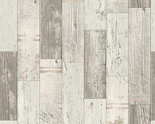 Moderní vinylová tapeta šedá, krémová dřevěné latě 96246-3 / Tapety na zeď 962463 Faro 4 AS (0,53 x 10,05 m) A.S.Création