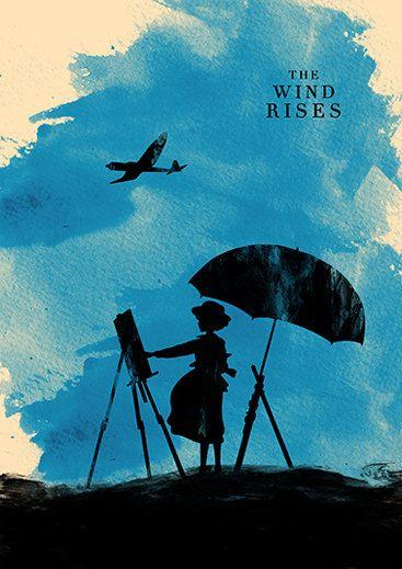 Le vent lève affiche de film minimaliste de Hayao par moonposter
