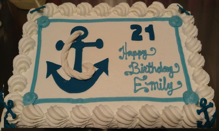 Nautical Anchor Cake with Rope. www.VintageBakery.com 803-386-8806