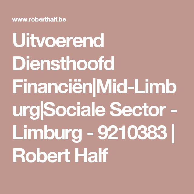 Uitvoerend Diensthoofd Financiën Mid-Limburg Sociale Sector - Limburg - 9210383   Robert Half