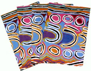Aboriginal design Wrapping Paper Warlukurlangu Arts Judy Napangardi Watson Mina Mina Dreaming Size:  67cm X 50cm  Code:  WRAP-BWA/JNW $2.50 each