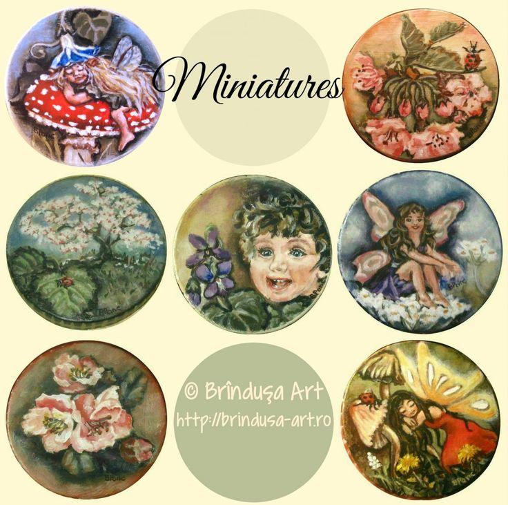 Brîndușa Art Rounded wooden miniatures… Acrylic painting on wood. Miniaturi rotunde de lemn… Pictură în culori acrilice pe lemn.