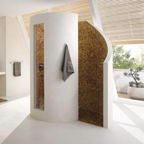 Rundgemauerte duschschnecke ausführung in tadelakt dusche aus wasserfestem putz maybe similar ideas inspiration pinterest showers