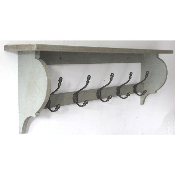 Hat and Coat Rack With Shelf French Style Distressed Shabby Chic 2,3,4,5,6 Hooks on Etsy, 298:01kr