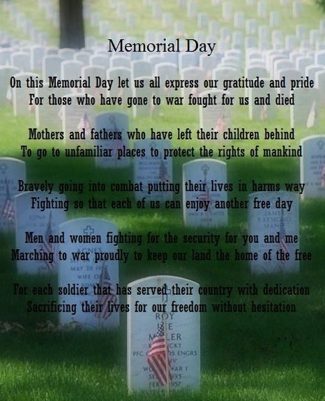 Famous Memorial Day Poems - Long Memorial Day Poems for US Soldiers. 2016 Memorial Day Poems for Church Bulletins, Veterans, Kindergarten.