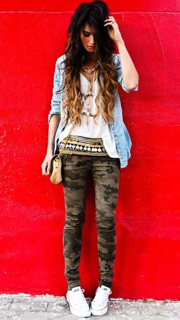 Camo skinnies, chambray, ethnic coin belt & cons. My style in a nutshell. Via Madame de Rosa.