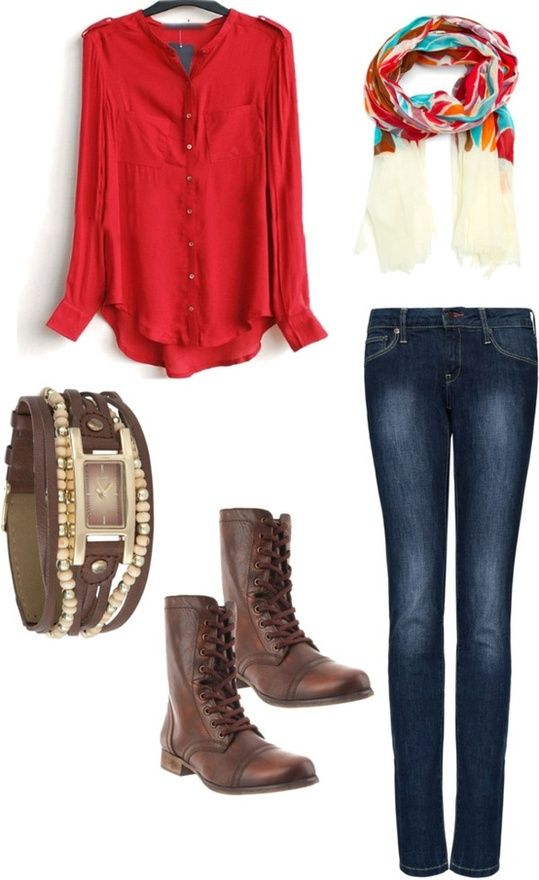 red button up with colorful scarf an combat boots = love in an outfit  I just got combat boots very similar to the ones shown here today. I love them but I don't have a lot of good ways to wear them. If someone has ideas or pins or a board I will gladly follow:) -Maggie