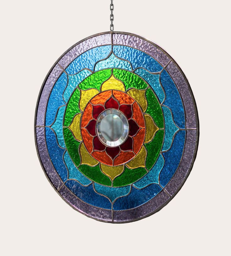 "Tiffany Stained Glass Round Window Panel Yoga Mandala Spiritual Ritual Flower 8""  Meditation Leaded Glass Yoga Mantra Yantra"