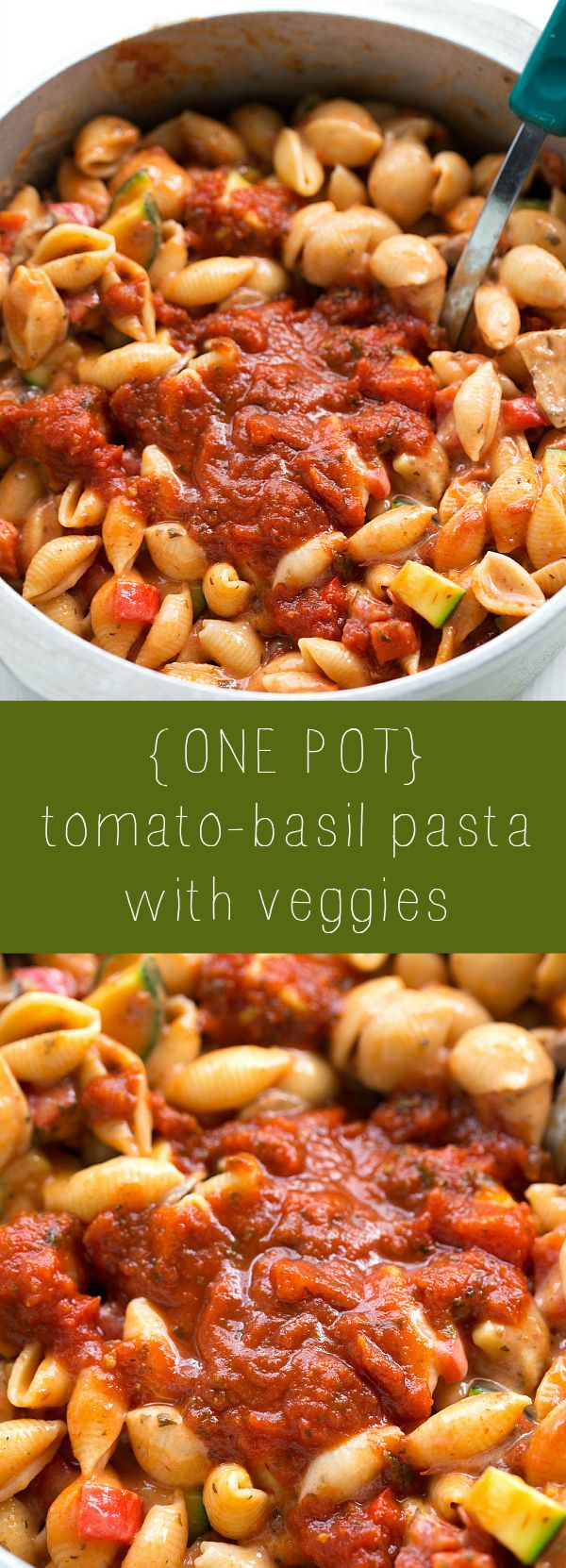 The easiest one pot tomato-basil pasta with veggies! This pasta uses the delicious Bertolli® Tomato & Basil sauce with the most authentic and delicious tomato basil sauce! @Bertolli