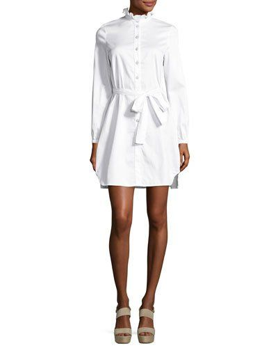 Opening+Ceremony+Long+Sleeve+Belted+Sateen+Shirtdress+White+|+Frock,+Dress+and+Clothing