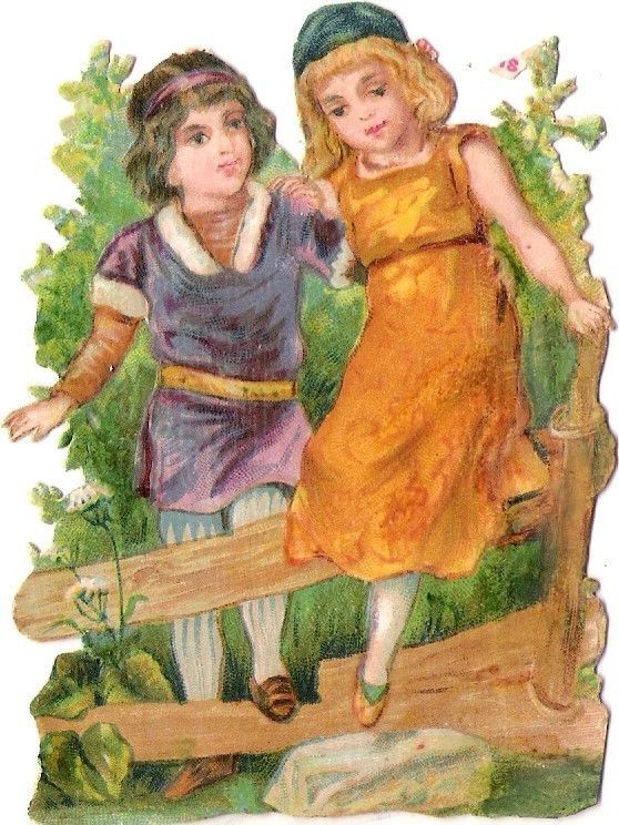Oblaten Glanzbild scrap diecut chromo Kind child couple Paar girl boy Zaun fence