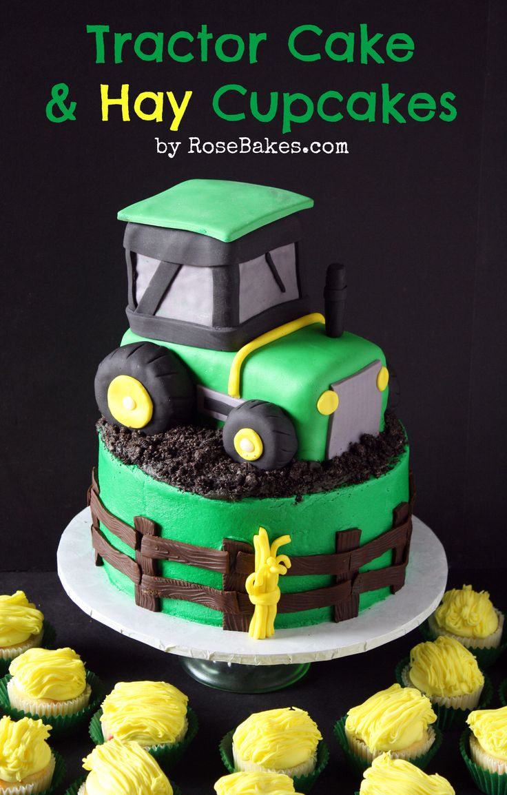 John Deere Green Tractor Cake   Hay Bale Cupcakes by rose bakes...for a boy's bday??? and no not mine!