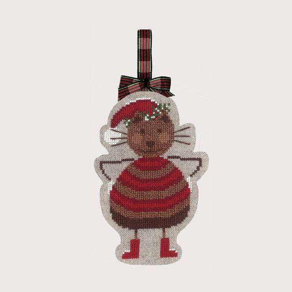 Chat Noël Bonheur des Dames Décoration-suspension réf. 2737 à broder au point de croix sur étamine de lin, grelots inclus.