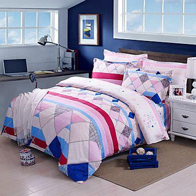 moda estilo, high-end de algodão integral stripe impressão reativa contemporâneo cama conjunto 4pc, tamanho completo / queen de 4805887 2016 por €56.83