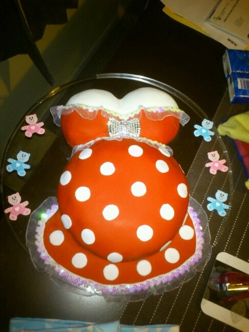 Neutral sex baby shower cake. My scrummy family recipe choc cake choc ganache covered with red vanilla fondant