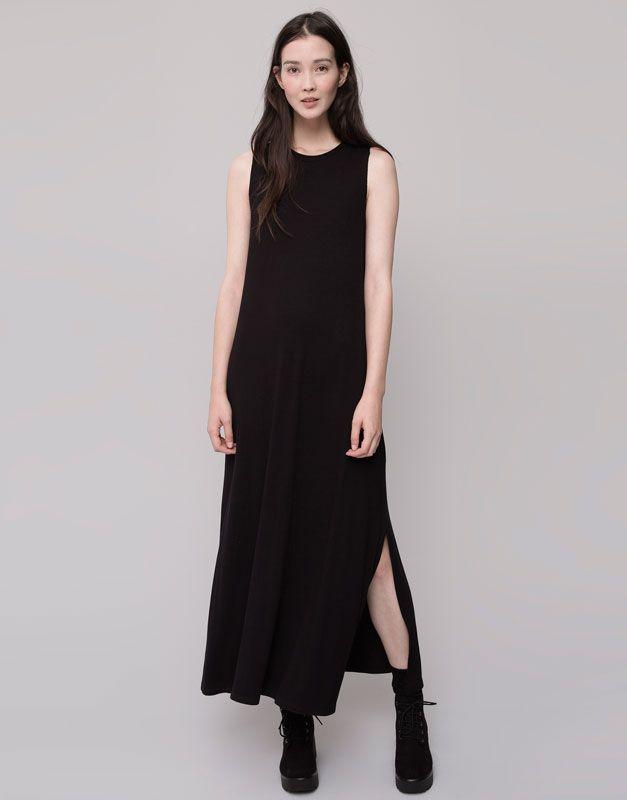 Pull&Bear - femme - robes - robe longue sans manches - noir - 09390327-V2016