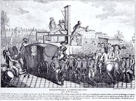 A execução de Luís XVI - Gravura alemã  A tomada da Bastilha em 1789 e a execução do Rei Luís XVI em 1793 representaram a queda de um regime político e a ascensão do liberalismo, mas um atentado terrorista como o ataque ao World Trade Center ocorrido em 2001 não ameaçou o capitalismo, pelo contrário.   https://plus.google.com/114397422423346270759/posts/7Dj1u7Rk9tF