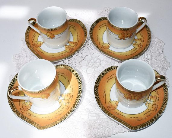 Yemesh 1 GE/24 CT/Gold collection/Vintage tea cup and saucers/Japan/Tea Set