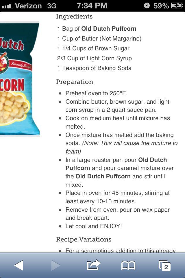 Old Dutch Carmel puff corn