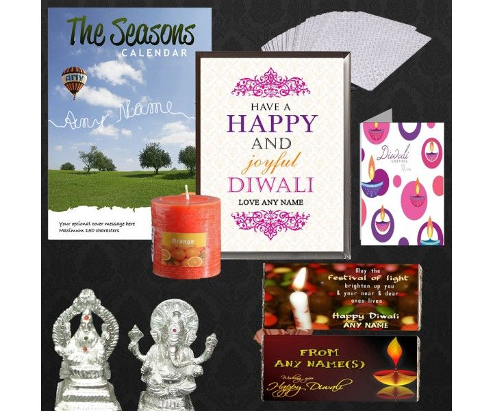 Gift This Diwali Personalised gifts in style. This one of the unique combo is one stop solution for gifting someone something special this diwali. Perfect to gift to anyone whether it is brother, boss or collague>> Contains 8 items>> 1 Personalized Card>> 1 Personalized Calendar>> 2 Personalized Chocolates>> 1 Fragnence Candle>> 1 pair of metal ganeshji and shivji>> Silver Coated Playing Cards>> 1 Personalized Diwali Greetings Glass Block>>