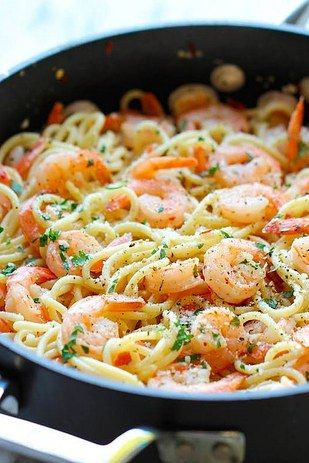Shrimp Scampi The easy shrimp marinade — butter, lemon, garlic, red pepper flakes, and a splash of white wine — makes all the difference. Get the recipe.