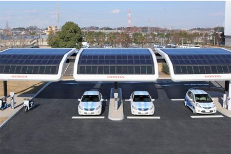 Honda unveiled plans to trial a solar powered electric vehicle charging station along with testing electric vehicle technologies. - See more at: http://www.mysolarquotes.co.nz/blog/future-of-solar-power/the-coolest-solar-power-car-charging-station-designs