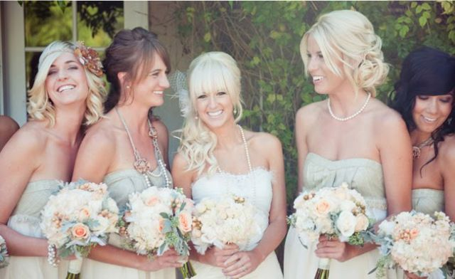 Bangs + simple bridesmaid hair