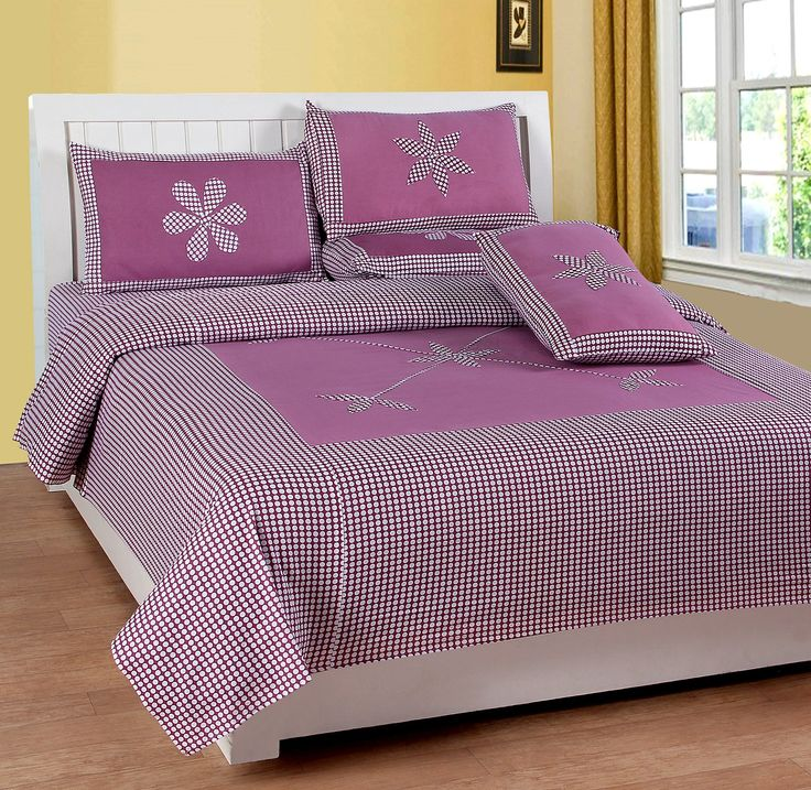 Buy Royal Collection Pure Cotton Double Bedsheet With Two Pillow Covers   Purple, 228.6 Cm