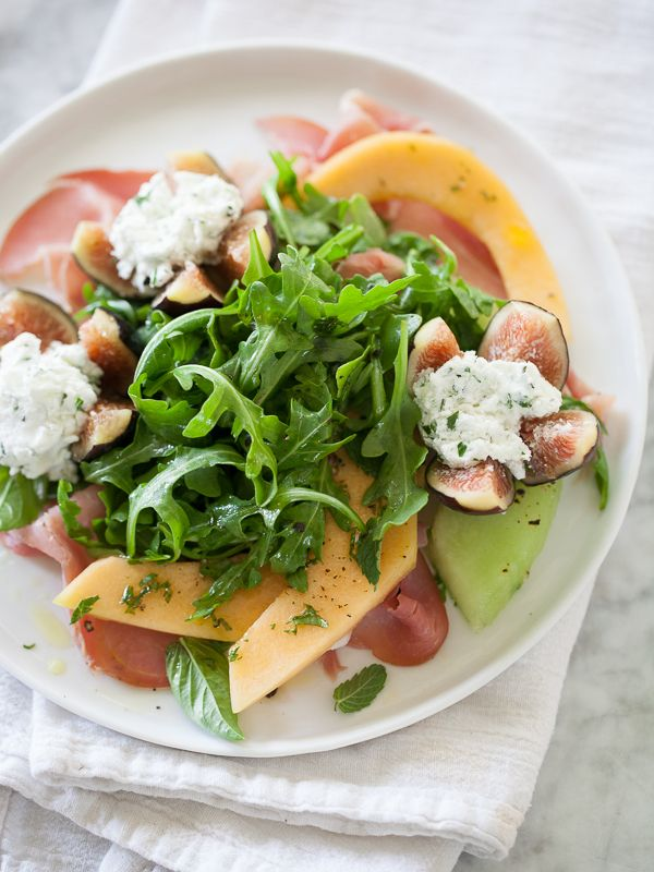Goat Cheese Stuffed Fig, Melon and Prosciutto Salad recipe from Foodie Crush