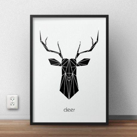 "Plakat z czarną głową jelenia i napisem ""deer"""
