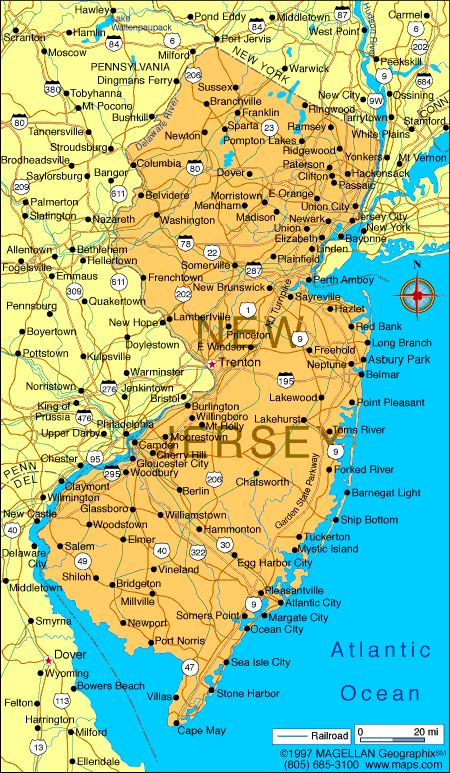 Map of New Jersey-Capital: Trenton; became a state: December 18,1787; motto: Liberty and prosperity; flower: Purple Violet; tree: Red Oak; bird: Eastern Goldfinch; nickname: Garden State; origin of meaning: From the Channel Isle of Jersey; points of interest: Atlantic City; Edison National Historic Site; Princeton University