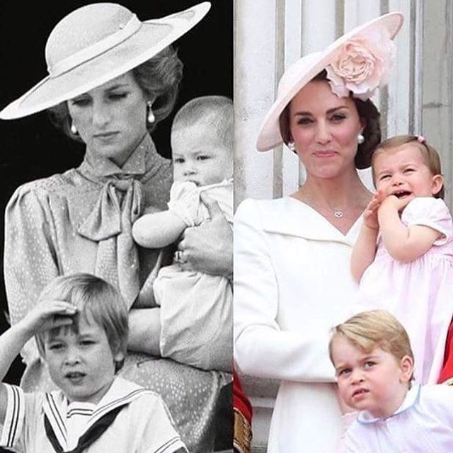 History repeating itself ❤️Prince George and Princess Charlotte with their mother, Catherine, the Duchess of Cambridge replicates the image of Prince William and Prince Harry with their mother.