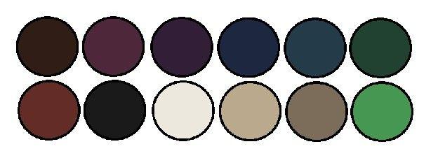 Обладательницам тёмного колорита идут цвета, слегка затенённые чёрным. Тёмно-синий, сливовый, шоколадный, бордовый, лесной зёленый, цвет чернослива, тёмный цвет морской волны, серовато-чёрный. Палитра тёмного колорита включает в себя и некоторые светлые цвета, но и в них заметна глубина: молочный, тёмно- бежевый, серо-коричневый, нежно-зеленый.