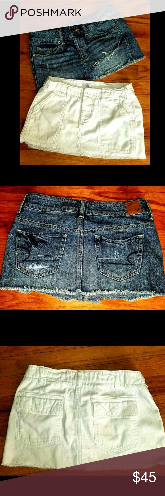 American Eagle jean mini skirts/XS Less thru pay??al or Merc  ( just ask me!)    Super cute American Eagle jean mini skirts.One is Jean colored & the other white! Like new condition. Size 0   2 for $45 or $28 a piece! American Eagle Outfitters Skirts Mini