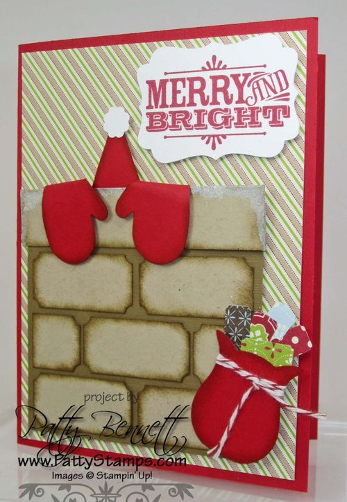 By Patty Bennett. Christmas card. Uses Stampin' Up punches: mitten punch, ticket duo builder punch, petite pennant builder punch, itty bitty shapes, owl builder punch. Directions on her website. (Card could be made by cutting out shapes freehand instead of using punches if you don't own these.)