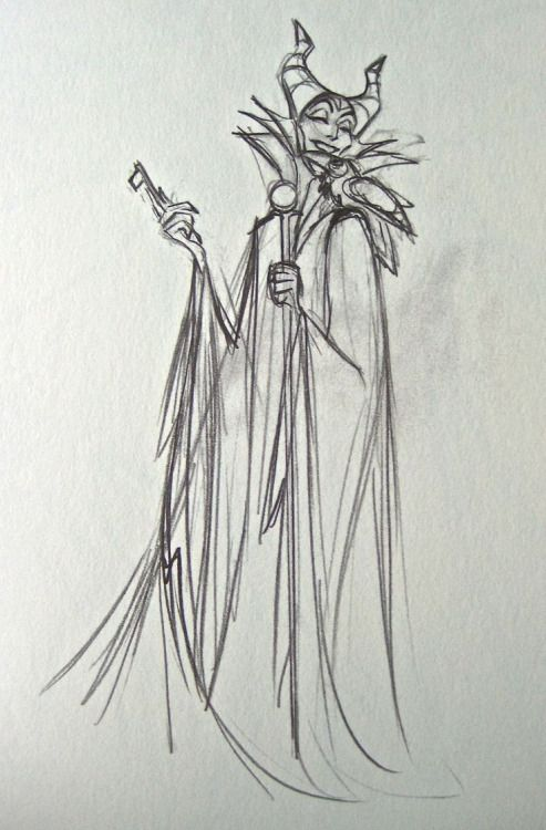 Maleficent rough drawing by Milt Kahl