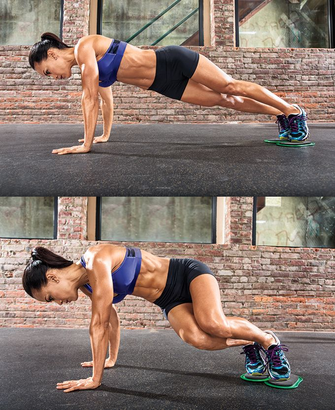 Try this Twisted Knee Tuck abs exercise for sexy summer abs using slides, a towel or paper plates