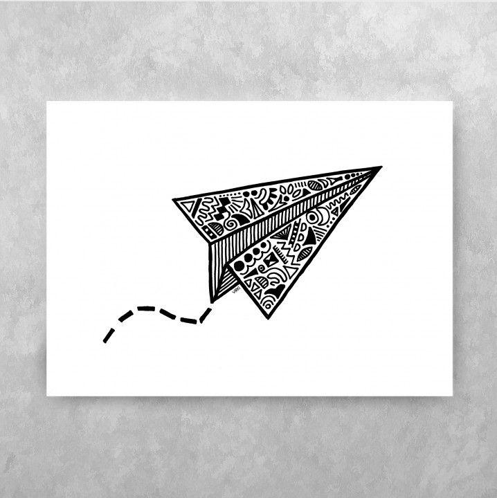 PAPER AIRPLANE ⁘ Handdrawn illustration by Vira Kiktso (Virki) #virki #virkiillustration #illustration #handdrawn #artprint #art #design #svartvitt #blackandwhite #paper #airplane #paperairplane #pappersflygplan
