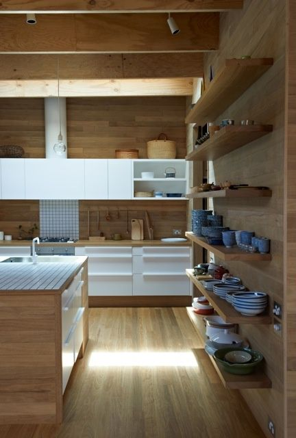 Japanese kitchen, wood and white minimal, open shelves wall, modern kitchen