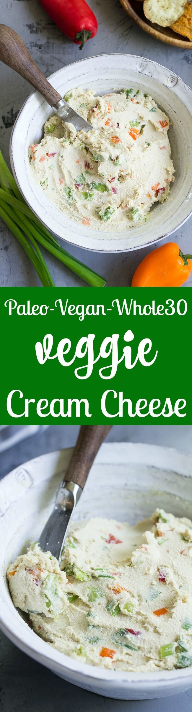 This veggie packed cashew cream cheese tastes so much like the real thing that you won't believe it's not actually cheese! It's made in minutes, great as a dip or spread, dairy free, vegan, paleo and Whole30.