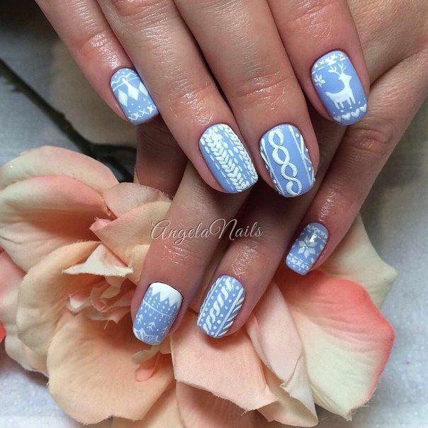 ❅ Дизайн ногтей Свитер (косички на ногтях) по технике бархатный песок ❅