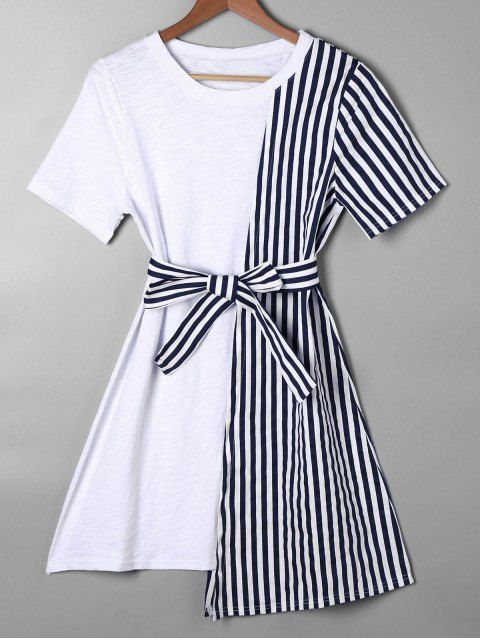 Striped Asymmetrical Mini Tee Dress - BLUE XL