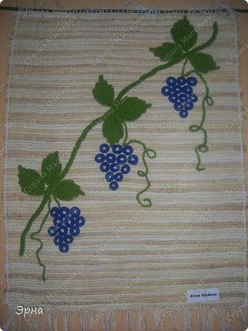 Картина панно рисунок Вязание крючком Ткачество ручное Тканый гобелен и связанный крючком виноград Пряжа