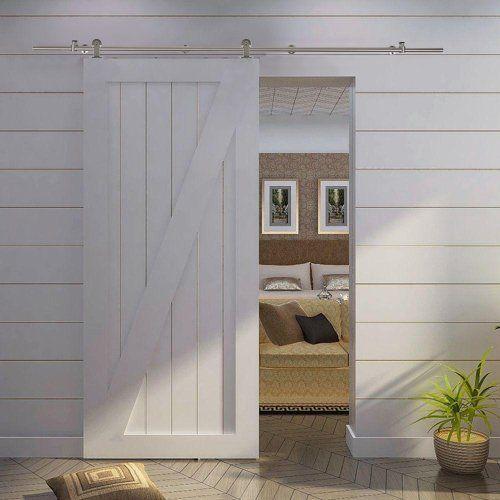 TMS® 6 Ft 7 Inch Modern Stainless Steel Interior Sliding Barn Wooden Door Hardware Track Set